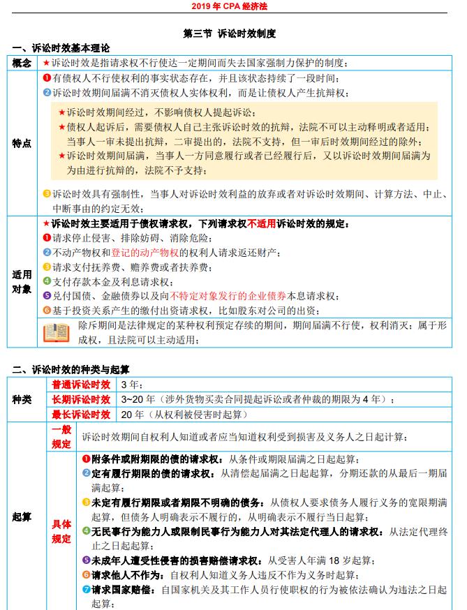 2019注会学霸笔记-2019CPA表格笔记-考前15天必背提分册